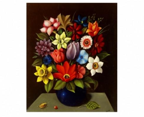 Stilleben Med Blommor I Blå Vas by Georges SPIRO