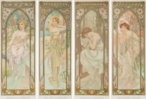 """""""l'heur De Jour"""" (éveil Du Matin, Eclat De Jour, Rêverie Du Soir And Repos De La Nuit). by Alphonse MUCHA"""