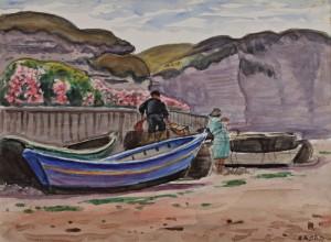 Barques Devant Les Falaises by René Liénard De SAINT-DELIS
