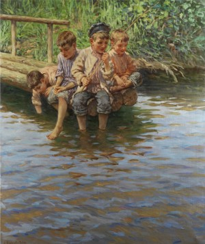 Vier Knaben Am Ufersteg Beim Angeln by Nikolai Petrovich BOGDANOV-BELSKY