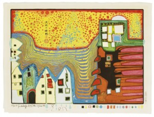 Midori No Namida - Tears Of Green. Portfolio Comprising Of 5 Colur Woodcuts (in 38 Colours). Original Box In Wood. by Friedensreich HUNDERTWASSER