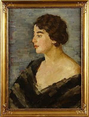 Kvinnoporträtt by Albert HOFFSTEN