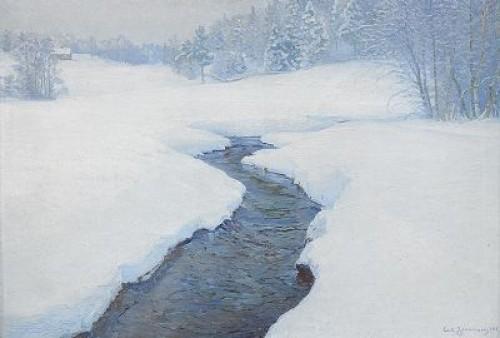 Vinterlandskap Med Vattendrag by Carl JOHANSSON
