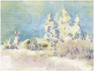 Winter Landscape by Konstantin Alexeievich KOROVIN