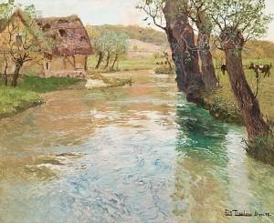 Flodlandskap, Arques, Dieppe by Frits THAULOW