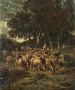 Shepherdess And Her Flock by Charles Emile JACQUE