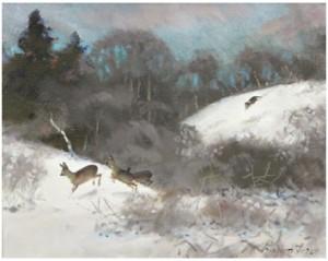 Rådjursjakt I Vinterlandskap by Lindorm LILJEFORS