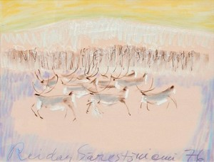 Reindeers In A Winter Landscape by Reidar SÄRESTÖNIEMI