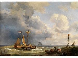 Segelboote Am Stürmisch Bewegten Uferwasser Der Küste by Charles-Louis VERBOECKHOVEN