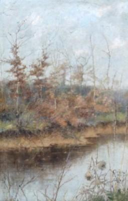 Flodlandskap. Signerad Grèz [...] Decembre Julia Beck by Julia BECK