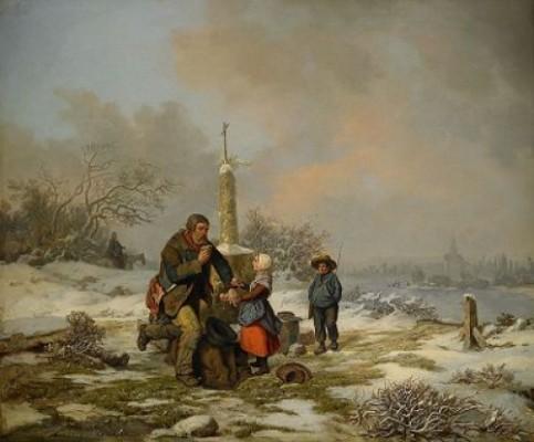 Vinterlandskap Med Vandringsman Och Barn Vid Vägaltare by Per WICKENBERG