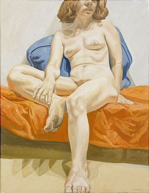 Seated Nude On Orange Drape by Philip PEARLSTEIN