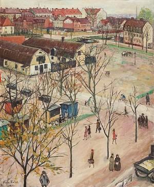 Utsikt över östra Boulevarden, Kristianstad by Agda HOLST