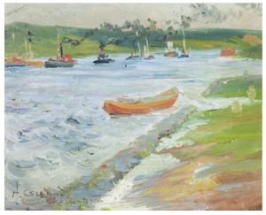 Båtar På Rhen by Helmer OSSLUND
