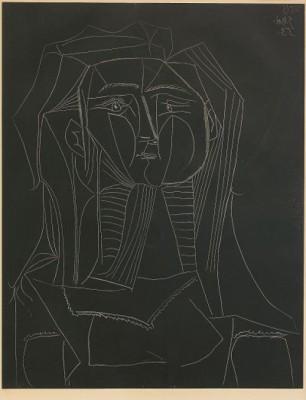 Tête Sur Fond Noir, Bloch 742 by Pablo PICASSO