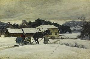 Vinterlandskap Med Häst Och Släde by Olof ARBORELIUS