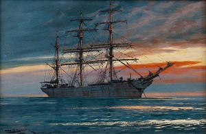 A Sailing Ship In The Sunset by Adolf BOCK