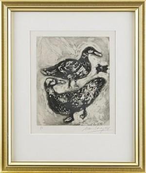La Tortue Et Les Deux Canards by Marc CHAGALL