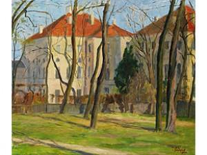 Schlossgebäude Hinter Kahlen Frühlingsbäumen by Maria DEL PILAR VON BAYERN