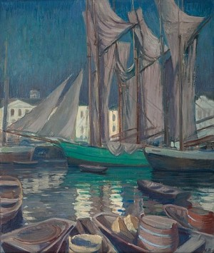 Boats In The Harbour Of Helsinki by Väinö BLOMSTEDT