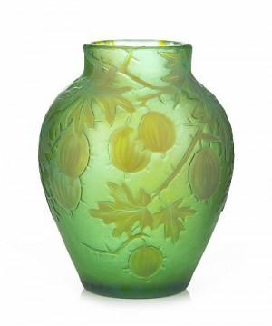 Vas, Kosta 1900-02, överfång I Gult Och Blått, Etsad Och Graverad Dekor Av Krusbär Mot Grön Fond by Gunnar WENNERBERG