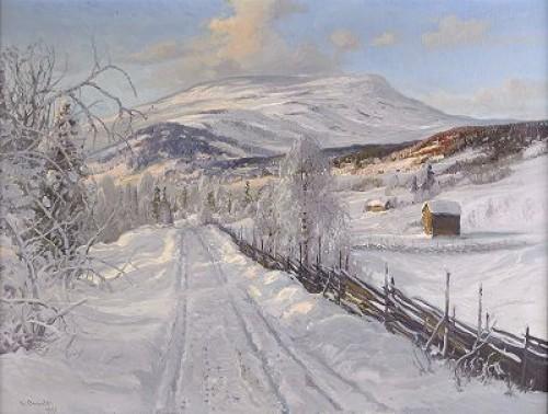 Norrländskt Vinterlandskap Med åreskutan I Fonden by Carl BRANDT