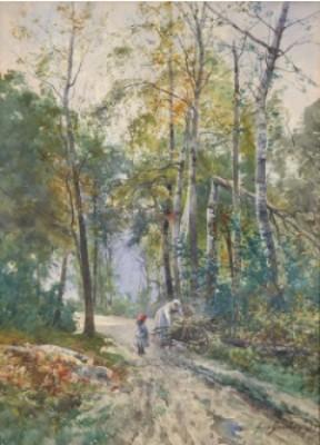 Skogslandskap Med Kvinna Och Barn Samlandes Ris by Anna GARDELL-ERICSON