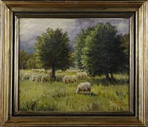 Motiv Från Drottningholm, Landska Med Får by Greta GERELL