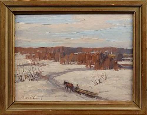 Vinterlandskap Med Häst by Karl ABEL