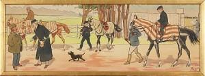 På Galoppbanan, Plansch Kolorerad Au Pochoir by Charles Edmond 'Harry Eliott' HERMET