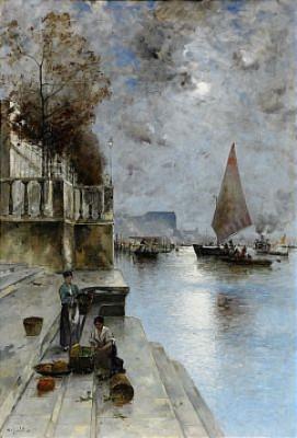 Venetiansk Kaj I Månsken by Wilhelm Von GEGERFELT