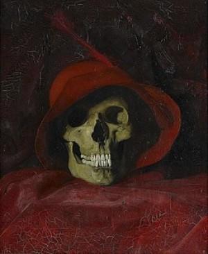Nature Morte - Kranium Med Röd Hatt by Robert THEGERSTRÖM