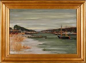 Kustlandskap Med Segelbåt by Hilding BOSSLER
