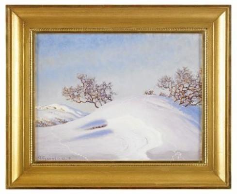 Vinterlandskap Med Buskage by Gustaf FJÆSTAD