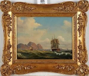 Kustbild Med Segelfartyg by Lars Gustav KINMANSSON