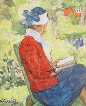 Läsande Kvinna I Trädgård by Elsa CELSING-BACKLUND