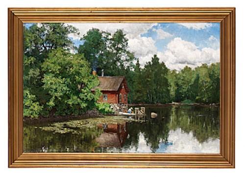Insjölandskap Med Röd Stuga by Olof ARBORELIUS