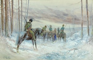 Cossack Riders On Wooded Path by Franz Alexeivich ROUBAUD