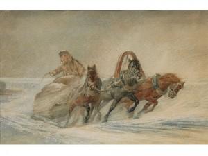 Russische Troika Im Schneegestober by Rudolf Feodorovich FRENTZ