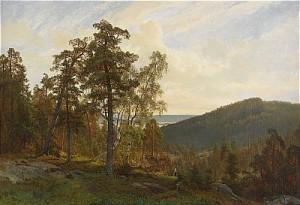 Lanskapsvy Med Flicka I Skogsbacke - Sommar by Oscar TÖRNÅ