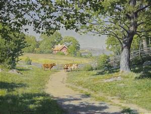 Vid Landsvägen - Gårdsidyll I Sommargrönska by Johan KROUTHÉN