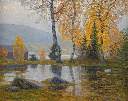 Sjölandskap Med Björkar I Höstfärger by Carl JOHANSSON