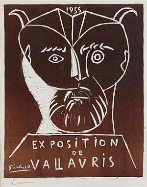1955 Exposition De Vallauris, Signed In Red Crayon by Pablo PICASSO