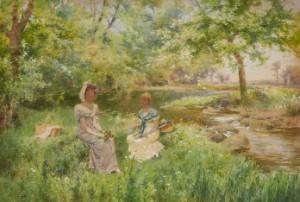 Picnic - Två Kvinnor Med Blombuketter Vid En Flod by Alfred Augustus GLENDENNING