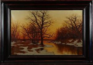 Vinterlandskap I Aftonrodnad by Edvard ROSENBERG