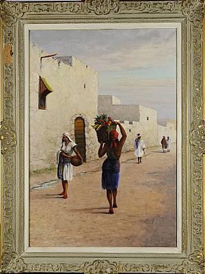Nordafrikansk Bybild Med Figurer by Sten EKENDAHL