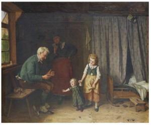 Stuginteriör - Tre Generationer by August JERNBERG