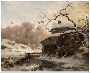 Vinter Ved Liten Elv by Ludwig MUNTHE