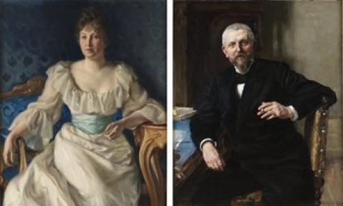 Redaktör Fredrik Vult Von Steijern Med Maka Gerda. Porträtt, 2 Stycken by Richard BERGH