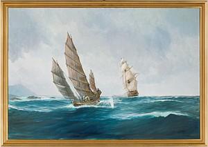 Pirat Djonk Jagas Av Engelsk Fregatt by Lennart ENGBLOM